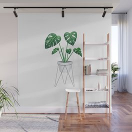 Monstera in designer plant stand with green leaves and foliage Wall Mural
