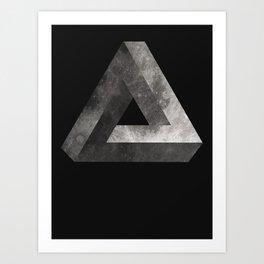 Penrose Triangle Moon Art Print