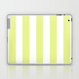 Key lime yellow - solid color - white vertical lines pattern Laptop & iPad Skin