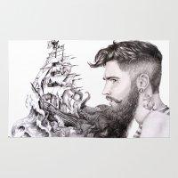 beard Area & Throw Rugs featuring Sailor's Beard by April Alayne