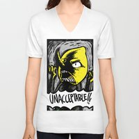 lemongrab V-neck T-shirts featuring UNACCEPTABLE!!! by Eevachu
