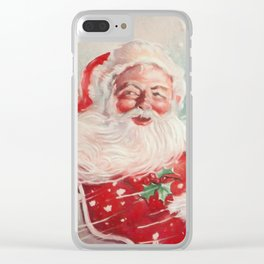 Cute vintage Santa Claus Clear iPhone Case