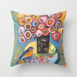 Bluebird with Bouquet by Robynne Throw Pillow