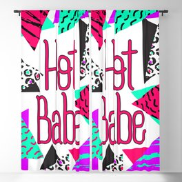 Hot Babe Neon 90's Style Geometric Triangles Blackout Curtain