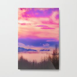 Alaskan Winter Fog Digital Painting Metal Print