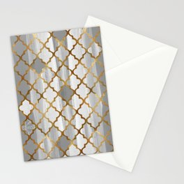 Moroccan Tile Pattern In Grey And Gold Stationery Cards