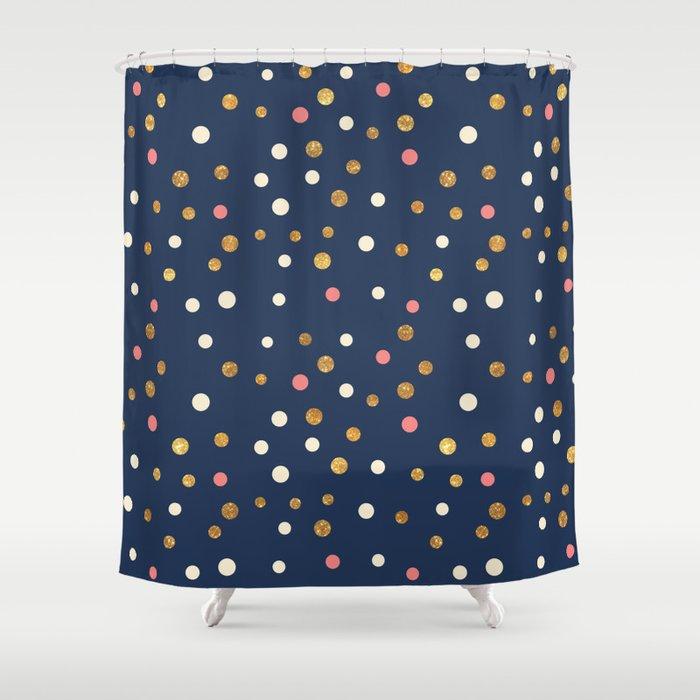 Hipster navy blue faux gold glitter modern polka dots Shower Curtain