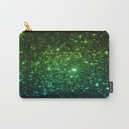 Glitter Galaxy Stars Green Teal Ombre Carry-All Pouch