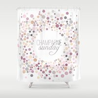 champagne Shower Curtains featuring Champagne Sunday by Twine Design