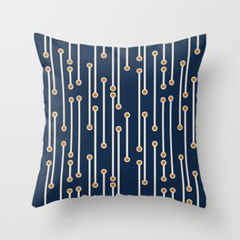 Dotted Lines in Navy, Cream and Orange Throw Pillow