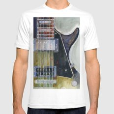 Les Paul Gibson Guitar Mens Fitted Tee White MEDIUM