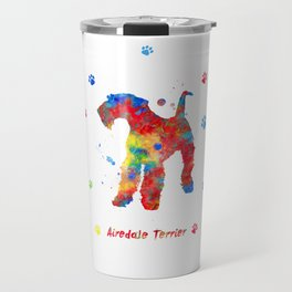 Airedale Terrier Watercolor Colorful Abstract Travel Mug