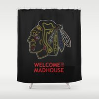 blackhawks Shower Curtains featuring Madhouse Chicago Blackhawks by beejammerican