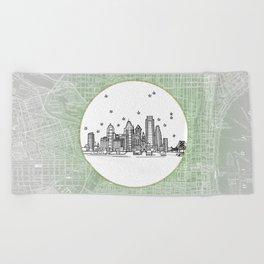 Philadelphia, Pennsylvania City Skyline Illustration Drawing Beach Towel