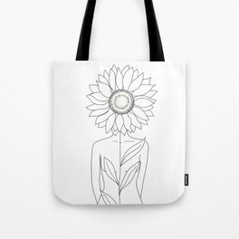 Minimalistic Line Art of Woman with Sunflower Tote Bag
