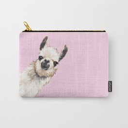 Sneaky Llama in Pink Carry-All Pouch