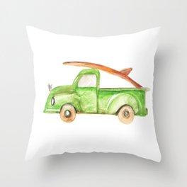Green Truck Throw Pillow