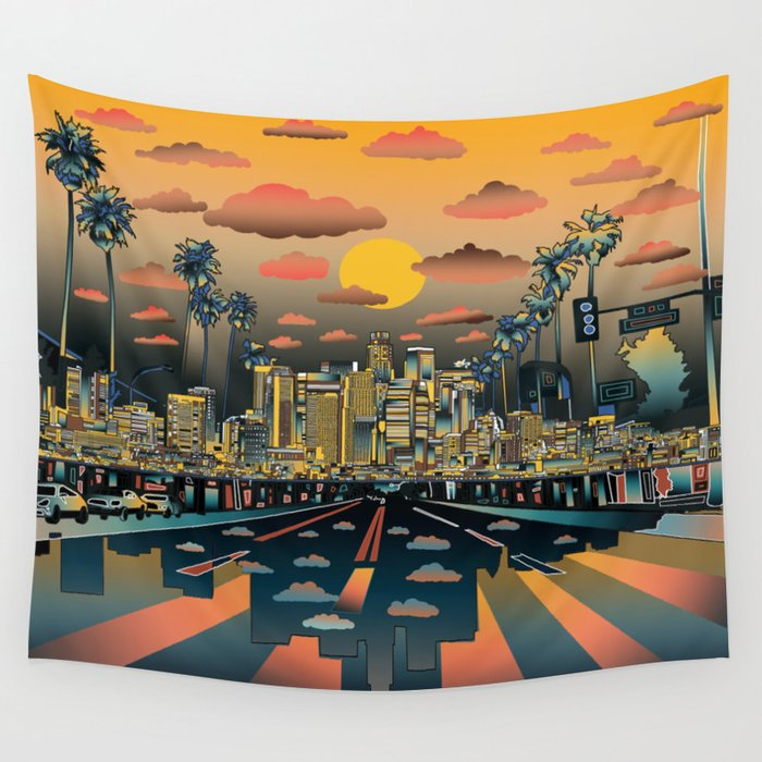 los angeles city skyline wall tapestry by bekimart society6. Black Bedroom Furniture Sets. Home Design Ideas