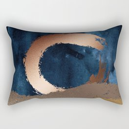 Navy Blue, Gold And Copper Abstract Art Rectangular Pillow