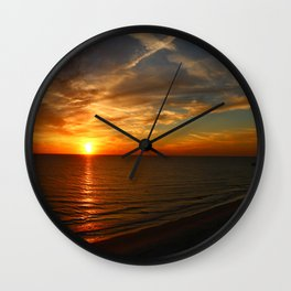 Fiery Evening Sky Wall Clock