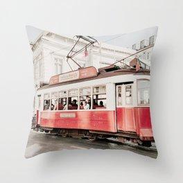 Lisbon Cable Car Photo | Lisbon Photography | Lisbon Red Tram Throw Pillow