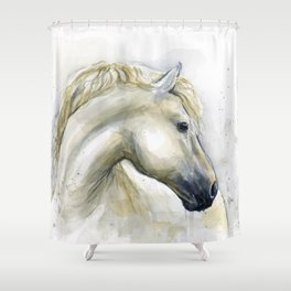 White Horse Watercolor Painting Animal Horses Shower Curtain