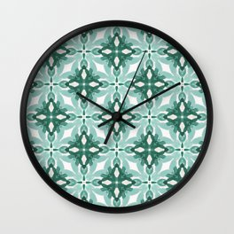 Watercolor Green Tile 2 Wall Clock
