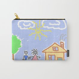 child's drawing with happy family Carry-All Pouch