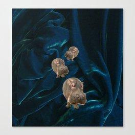 Hippo Parade on Velvet Canvas Print