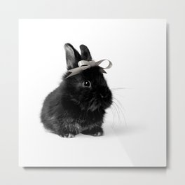 Black Bunny/Rabbit with Hair Bow, Easter Bunny, Easter Rabbit, Happy Easter Metal Print