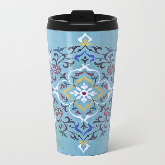 Calligraphy Flower Metal Travel Mug