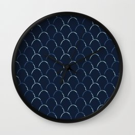 Scallop Indigo Tie Dye Hand Drawn Curved Lines Textile Wall Clock