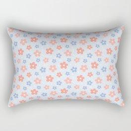 Blue Pink Flower Pattern Rectangular Pillow