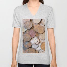 Watercolor Coins, Lincoln Wheat Pennies, 1939 03 Unisex V-Neck