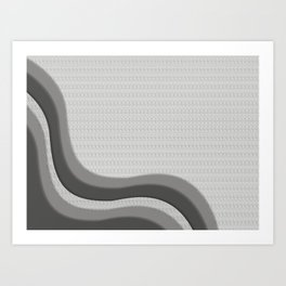 Pantone Pewter Gray Soothing Waves with Canvas Texture Art Print