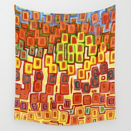 Squeezed together Squares Pattern Wall Tapestry