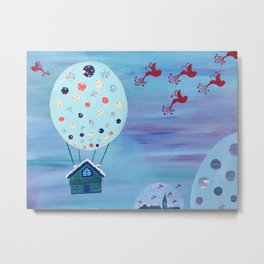 Snow Globe Hot Air Balloon Flying House with Birds Metal Print