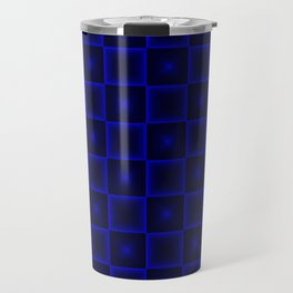 A chaotic cell of raised squares with violet intersecting spotted stars and highlights. Travel Mug