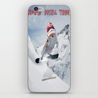 snowboarding iPhone & iPod Skins featuring Snowboarding by Dymond Speers