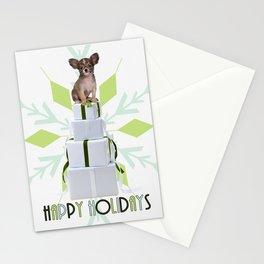 Papillon Dog Green Snowflake Holiday Stationery Cards