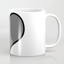 Pantone Pewter Gray Heart Shape with Black Border Digital Illustration, Minimal Art Coffee Mug