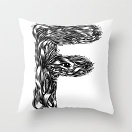 The Illustrated F Throw Pillow