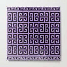 Greek Key (Lavender & Black Pattern) Metal Print