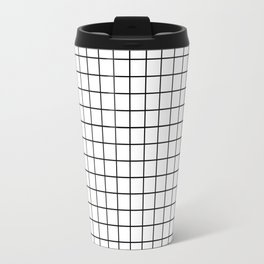 Emmy -- Black and White Grid, black and white, grid, monochrome, minimal grid design cell phone case Travel Mug