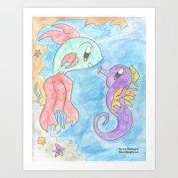 Flower Fish and Flower Seahorse Art Print