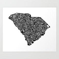 Typographic South Carolina Art Print