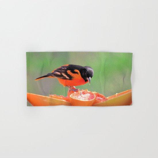 Orange Juice for Breakfast (Baltimore Oriole) Hand & Bath Towel