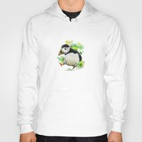 puffin Hoodies featuring Cute Puffin Bird Watercolor Painting by whatacolor