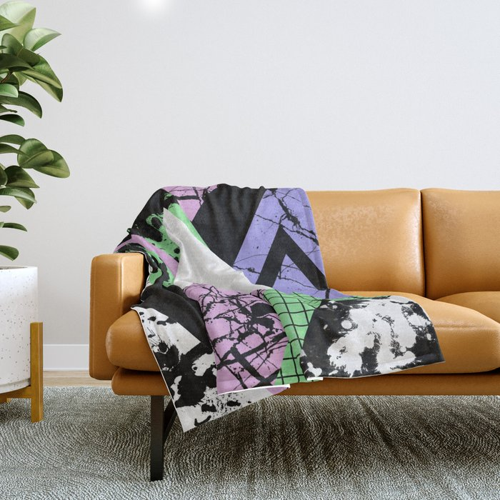 Textured Points - Marbled, pastel, black and white, paint splat textured geometric triangles Throw Blanket