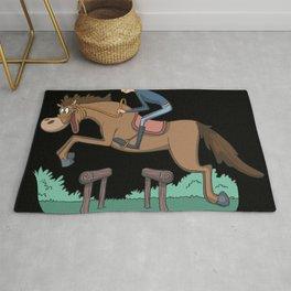 Rider and horse jumping Rug